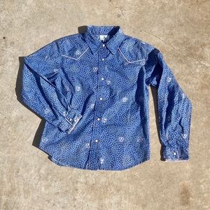 Kids Angel Ranch Pearl Snap Button Down Calico L